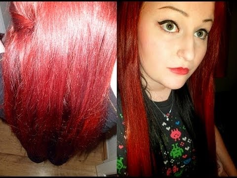 Live Salon Style Intense Red And Black Application And
