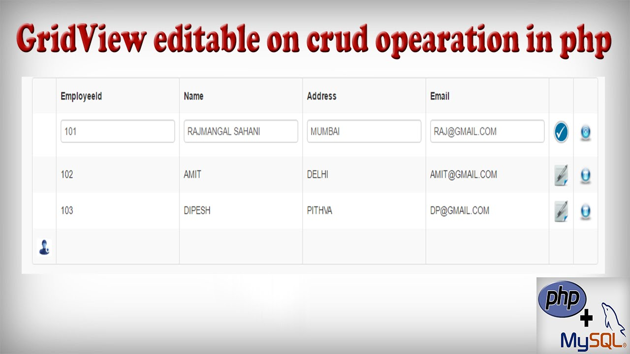 HTML5 bootstrap css Gridview Editable on Crud(insert,update,delete)  operation in Php with Mysql