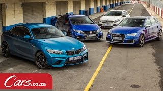 Track Race: BMW M2 vs Mercedes A45 vs Audi RS3 vs Honda Type-R