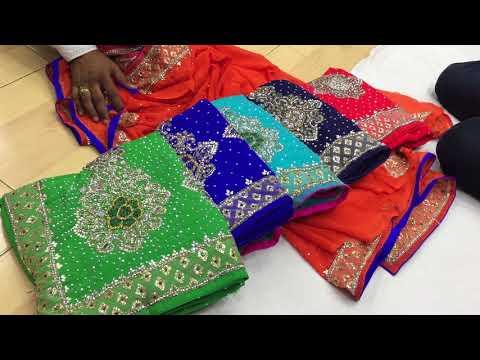 latest designer stone work sari for wedding and bridal surat saree in wholesale price5