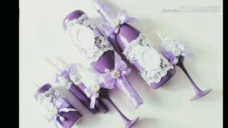Красивый свадебный набор в сиреневом цвете.
