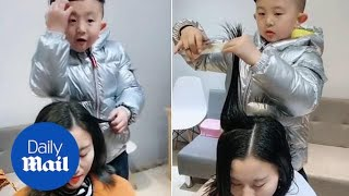 Meet the adorable six-year-old HAIRDRESSER!!