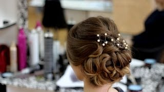 �������� ��������.�������� �� ������� � ������� ������.Evening braided updo for long and medium hair