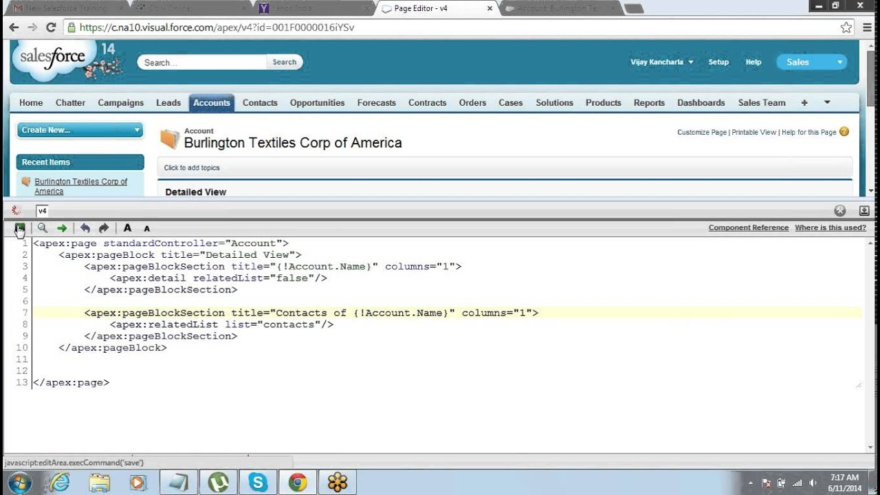 Displaying Related List On Visualforce Page By Wikitrainings Youtube