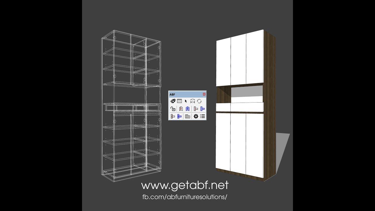 SketchUp shoes cabinet CNC plugin- vẽ sản xuất tủ giày