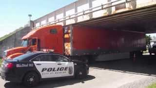 Tractor Trailer Stuck under Park Ave Rail Road Bridge