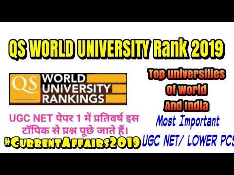 QS World University Ranking 2019 in Hindi| Top Universites in India  2019|UGC NET/ Current Affairs
