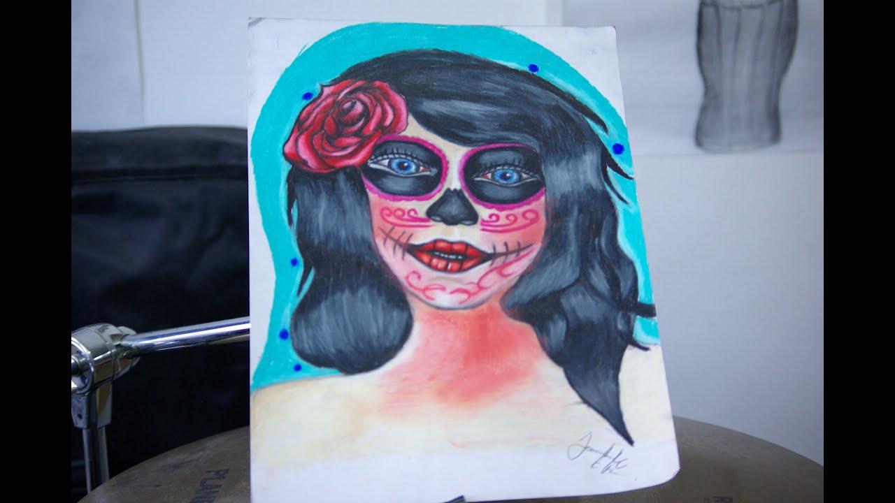Dibujando una \u0026quot;Catrina\u0026quot; (proceso) usando colores de madera