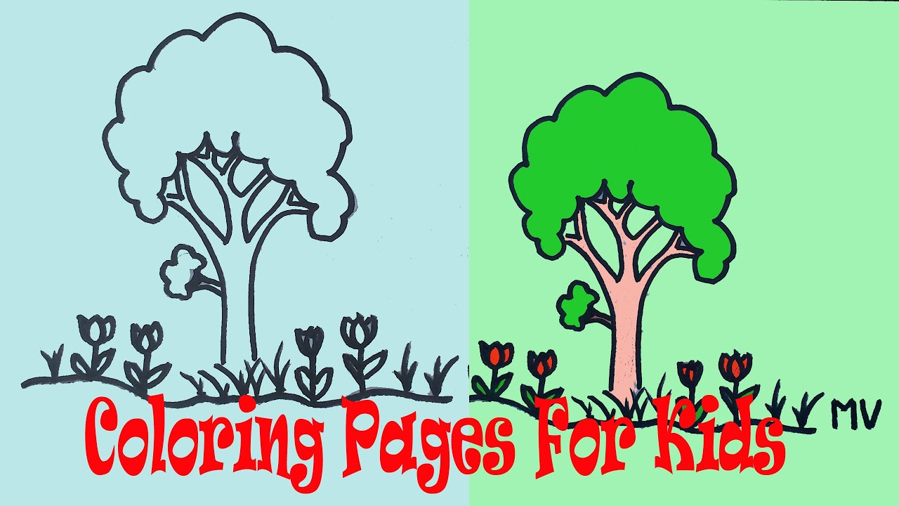Kids Coloring Pages A Tree - YouTube