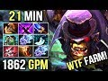 WTF IS THIS 21 Min 9 ITEMS 1862 GPM Battle Fury Alchemist Insane Farm Style by Ahjit 7.07 Dota 2