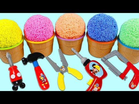 PLAY FOAM Surprise Toys & Kinder Eggs Opening with Disney Mickey Mouse Pretend Tools Playset!