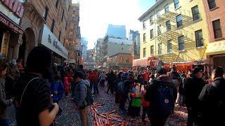 ⁴ᴷ⁶⁰ Walking NYC : Chinatown, Manhattan on Chinese New Year Day 2019 (Lion Dances, Confetti)