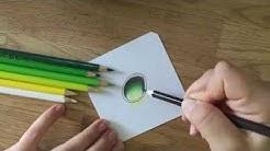 Edelstein zeichnen mit Buntstift (grün)