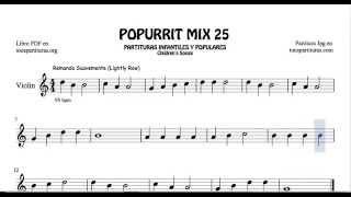 25 de 30 Popurrí Mix Partituras Populares Infantiles de Violín Remando Suavemente