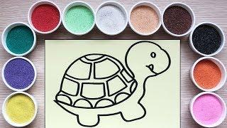 Chị Chim Xinh TÔ MÀU TRANH CÁT CON RÙA - Đồ chơi trẻ em - Colored sand painting toys