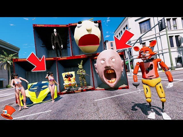 DONT CHOOSE THE WRONG CONTAINER! FOXYS LUCKY CONTAINERS! (GTA 5 Mods FNAF Kids RedHatter)