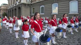 rehearsal of a marching band in budapest