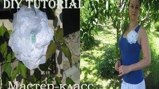 Цветок из ткани. Канзаши МК. DIY(http://www.podarkovmore.ru/Upload/1csenarii/Sdelai%20sam/Petal%20template1.png - ссылка на выкройку цветочка, ее можно сделать меньше Канзаши..., 2014-07-04T11:16:53.000Z)