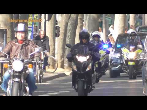 Police motorcycle escort ,French Prime Minister.
