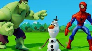 Мультик игра Человек паук спасает Олафа от Халка и Тачки Машинки Дисней Disney Cars