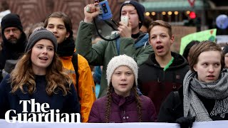 Teen climate activist Greta Thunberg speaks at four school strikes in a week