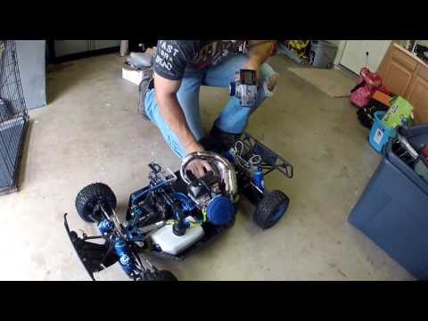One highly modified Losi 5T RC AWD non Nitro Gas Truck 90secs of pulls. lol
