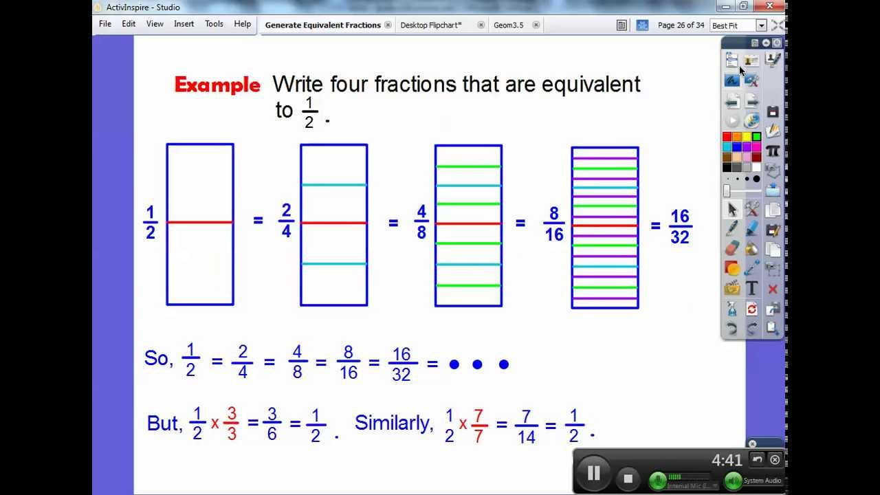 Generate Equivalent Fractions - Section 6.2 - YouTube