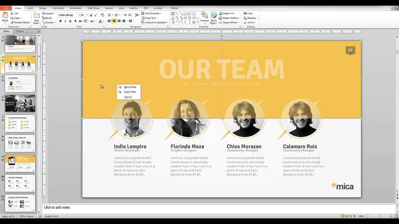 mica powerpoint presentation template youtube