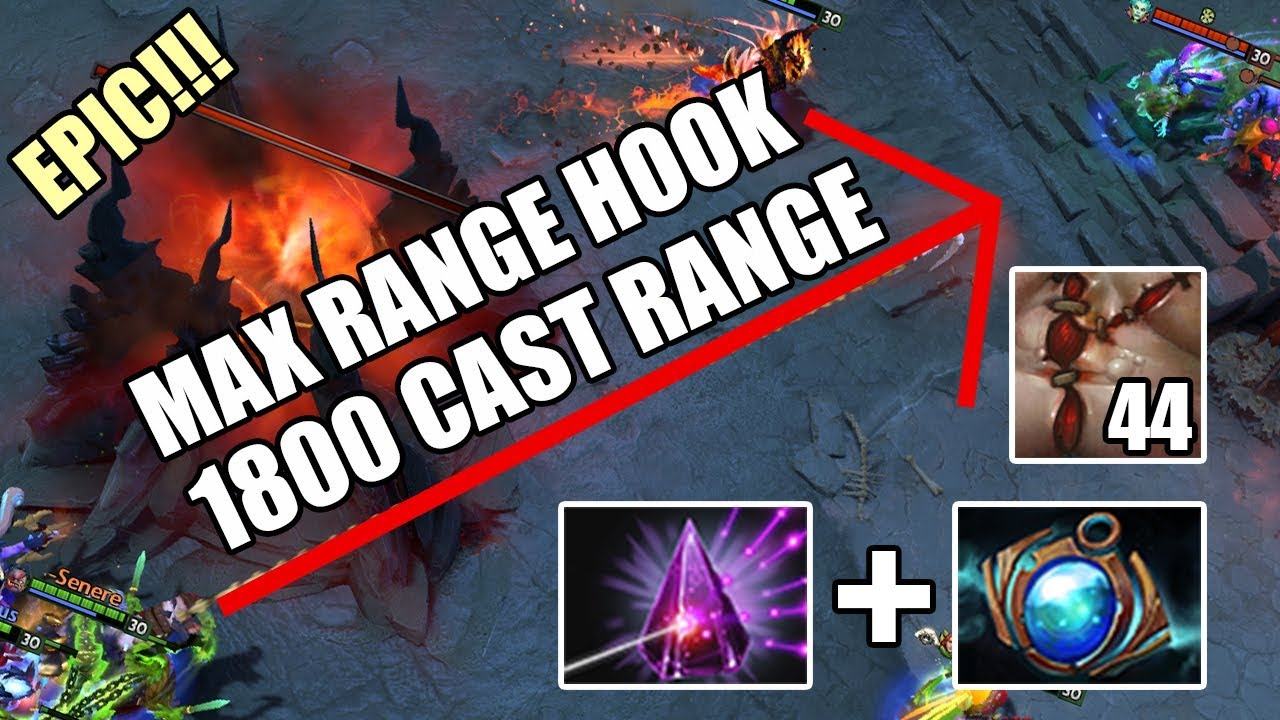 Max Range Hook Pudge 1800 Cast Range Seer Stone Aether Lens Epic