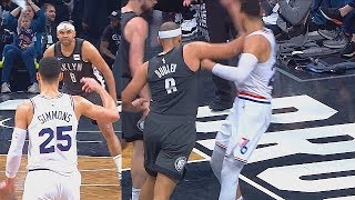 Ben Simmons Taunted & Shoved By Jared Dudley As Revenge! Sixers vs Nets Game 4 2019 NBA Playoffs