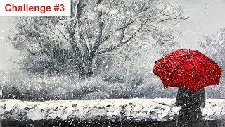 Challenge #3 - A Woman with The Red Umbrella Walking in The Snow Acrylic painting with Palette knife