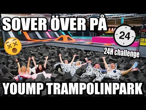 SOVER ÖVER PÅ YOUMP TRAMPOLINPARK *GALNA TRICKS* och *GIVE AWAY*