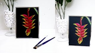 One stroke painting - Flower in Acrylic | Quick and easy steps | One stroke painting Heliconia