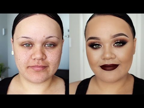 Gold & Brown Smokey Eyes With Dark Maroon Lip Makeup Tutorial