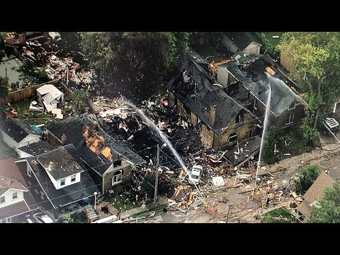 Aerial View Of London, Ont. Explosion Aftermath From The CTV News Chopper