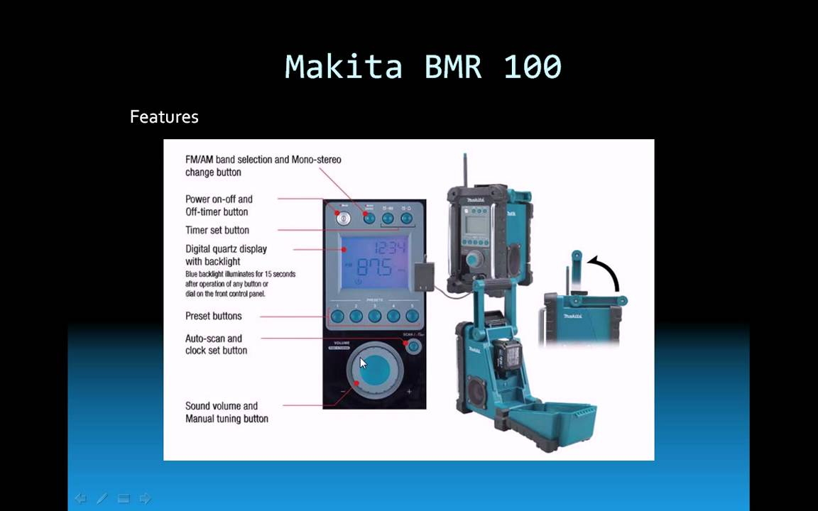 makita bmr100 makita digital radio youtube. Black Bedroom Furniture Sets. Home Design Ideas