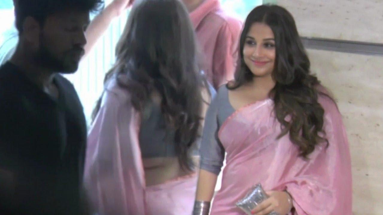 vidya balan hot in pink saree at party in mumbai !! - youtube