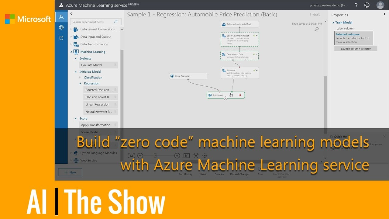 """Build """"zero code"""" machine learning models with Azure Machine Learning service"""