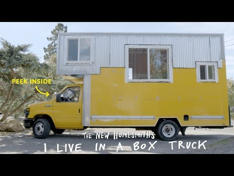 Box Truck Converted into a Home Video | Apartment Therapy on manufactured housing module home, yellow mobile stars, mystic yellow paint color home, burgundy with yellow trim home,