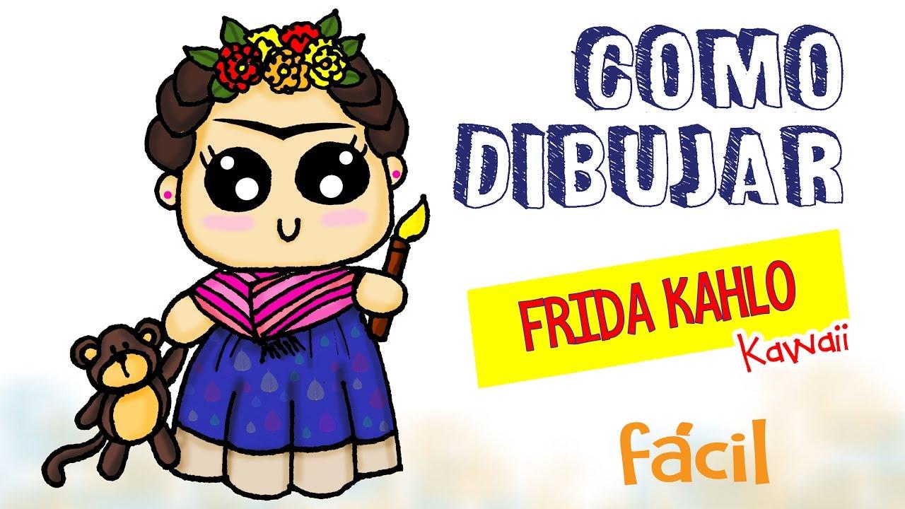 Dibujos Frida Kahlo Para Colorear: Como Dibujar A Frida Kahlo Kawaii / Dibujo Fácil Para