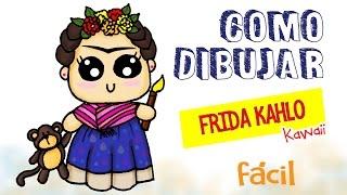 Como dibujar a Frida Kahlo kawaii / Dibujo fácil para niños