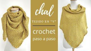 """Como tejer chal a crochet o ganchillo en """"V"""" super fácil y rápido"""