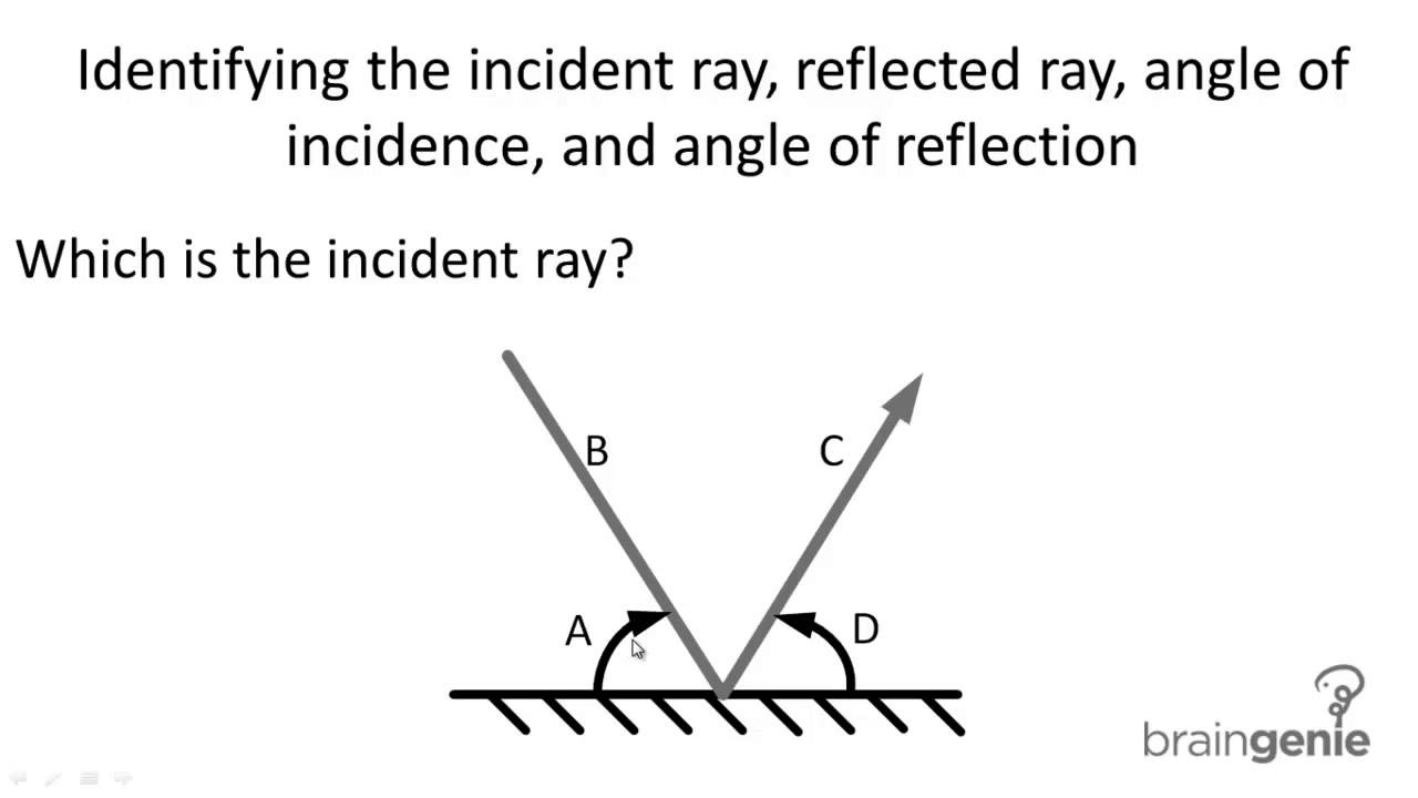 physics 7 3 3 1 identifying incident ray reflected ray angle of