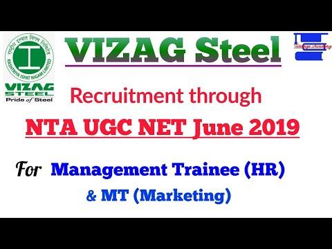 VIZAG Steel Recruitment through NTA UGC NET June 2019 for MT HR & Marketing.