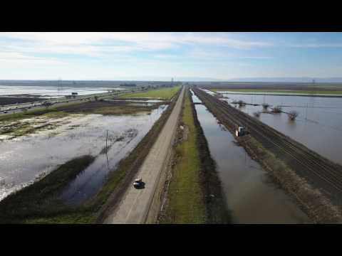 Storms hit Sacramento California Flooding 2017 view from Mavic Pro