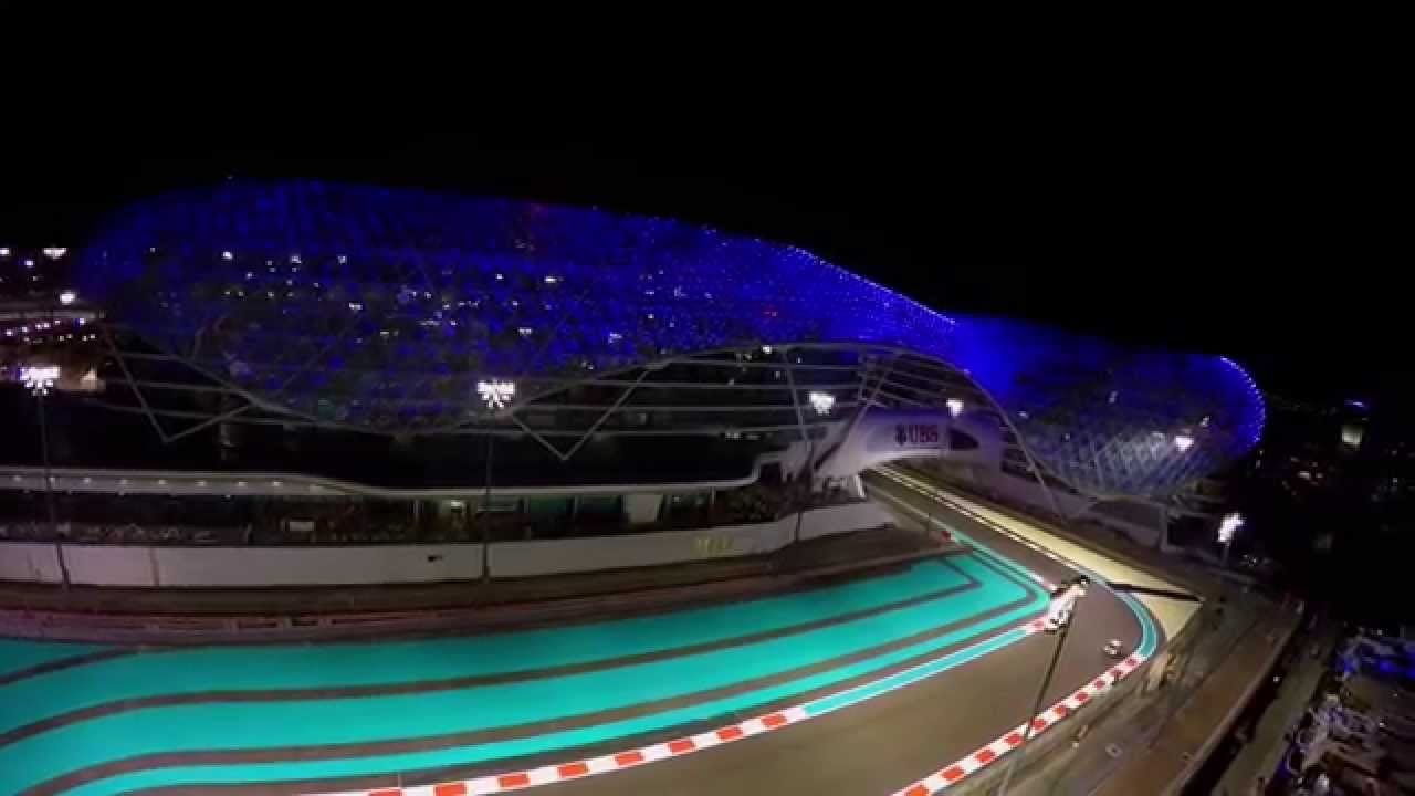 abu dhabi yas marina circuit and viceroy hotel with drone. Black Bedroom Furniture Sets. Home Design Ideas