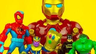 IRON MAN, SPIDERMAN, BATMAN & HULK vs THANOS avengers superhero toys