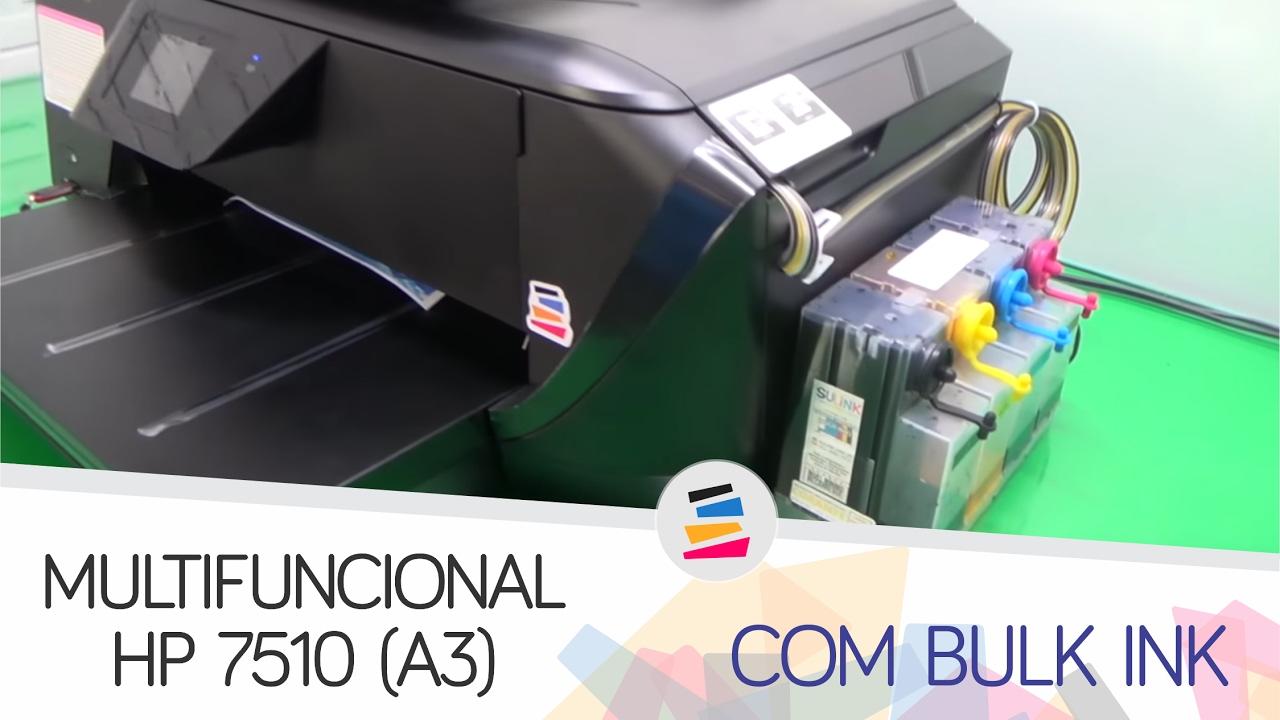 Demonstração Multifuncional Hp 7510 A3 Com Bulk Ink Instalado