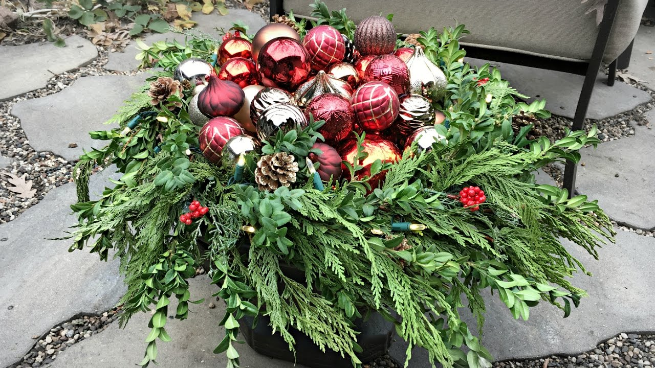 Christmas Ornament Planters - How To Decorate Your Planters For Christmas -  Outdoor Decorating