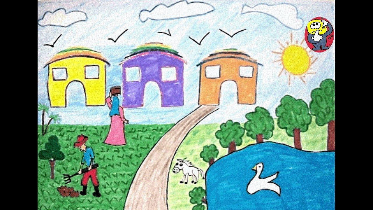 موضوع رسم عن الريف سهل جدا وبسيط خطوه بخطوه وبالتفصيلرسم عن الريف
